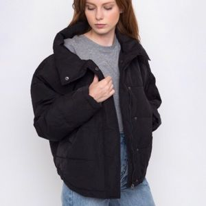 NWT ICHI Black Siliver Puffer Jacket In XL